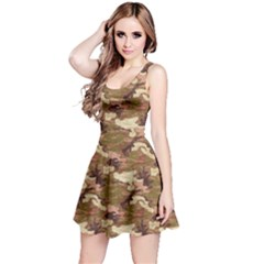 Brown 1 Camouflage Pattern Reversible Sleeveless Dress by CoolDesigns