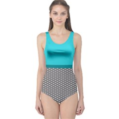 Light Blue Scales Cut-out One Piece Swimsuit by CoolDesigns