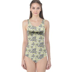 Yellow Butterfly Chervon One Piece Swimsuit