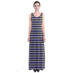 Olive Stripes Sleeveless Maxi Dress by CoolDesigns