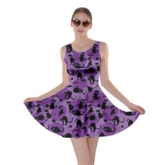 Purple Cats In Action Pattern Skater Dress by CoolDesigns