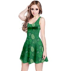 Green Skulls Pattern Sleeveless Dress by CoolDesigns