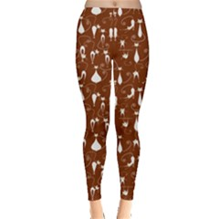 Brown Cute White Cats Pattern Leggings by CoolDesigns
