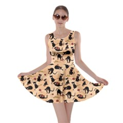 Beige Cats In Action Pattern Skater Dress