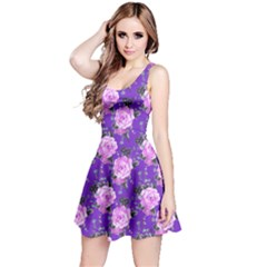 Violet Vintage Roses Pattern Sleeveless Skater Dress