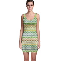 Green Tone Chevron Scratched Texture Bodycon Dress  Bodycon Dress