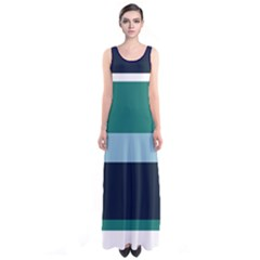 Green Stripes Sleeveless Maxi Dress by CoolDesigns