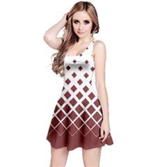 Marsala Gradient With Black Rhombuses Sleeveless Skater Dress by CoolDesigns