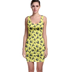 Yellow Background Different Style Birds Flying Pattern Bodycon Dress  Bodycon Dress by CoolDesigns