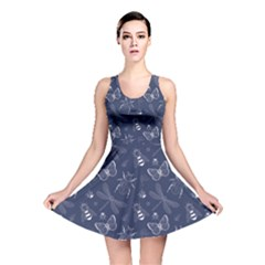 Navy Insect Pattern Reversible Skater Dress