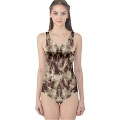 Brown Tie Dye One Piece Swimsuit by CoolDesigns