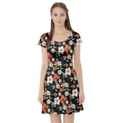 Teal & Orange Vintage Floral Short Sleeve Dress