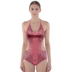 Coral Damask Cut Out One Piece Swimsuit