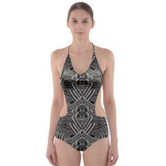 Dark Aztec Cut Out One Piece Swimsuit by CoolDesigns