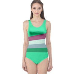 Green Stripes Athletic One Piece Swimsuit by CoolDesigns