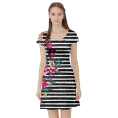 Pink Hawaii Stripe Short Sleeve Skater Dress by CoolDesigns