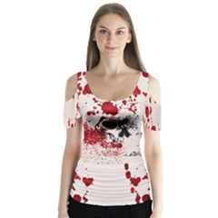 Skull Blood Beige Halloween V2 Butterfly Sleeve Cutout Tee by CoolDesigns
