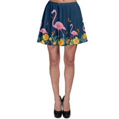 Flamingo And Flowers Skater Skirt by CoolDesigns