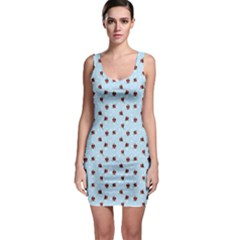 Light Blue Cute Red Birds White Snowflakes Pattern Bodycon Dress Bodycon Dress by CoolDesigns