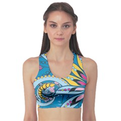 Blue Floral Sports Bra by CoolDesigns