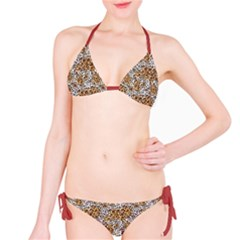 Brown Far Eastern Leopard Fur Print Bikini Set by CoolDesigns