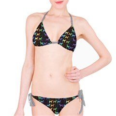 Colorful Bright Spectrum Pattern Of Dog Silhouettes On Black Bikini Set by CoolDesigns