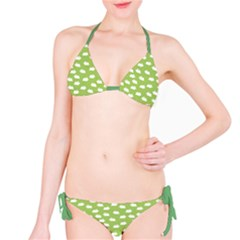 Green Pattern With White Bunnies Bikini Set by CoolDesigns