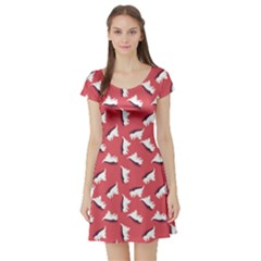 Pink Dinosaur Flat Pattern Short Sleeve Skater Dress by CoolDesigns