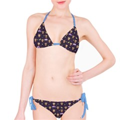 Blue Owls At Night With Stars Clouds And Moon Pattern Bikini Set by CoolDesigns