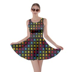 Black Rainbow Retro Videogame Pixel Monkeys Pattern Skater Dress