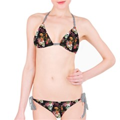 Colorful Beautiful Pattern With Nice Watercolor Skull And Flowers Bikini Set by CoolDesigns