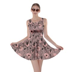 Brown Pattern Of Stylized Dance Of Flowers And Ballerinas Skater Dress by CoolDesigns