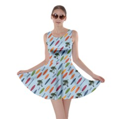 Blue Vacation Pattern With Surfboards Skater Dress