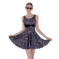 Blue Pattern Flowers And Birds Skater Dress by CoolDesigns