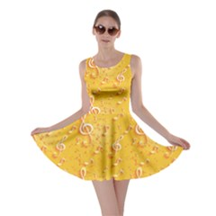 Yellow Yellow Pattern With Music Notes And Key Skater Dress