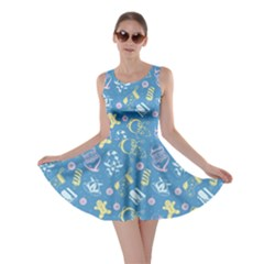 Blue Christmas Holiday Pattern Skater Dress