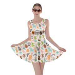 Green Animal With Cute Bird Alligator Dog Hen Jellyfish Skater Dress by CoolDesigns