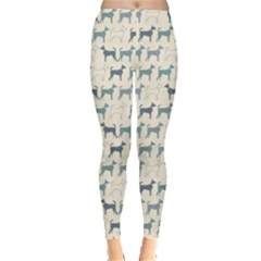 Gray Cute Doodle Pattern Of Dog Silhouettes Endless Women s Leggings by CoolDesigns