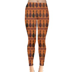 Brown Pattern Of Tribal Elegance African Cats Women s Leggings by CoolDesigns