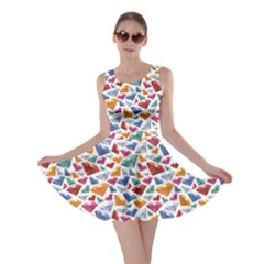 Colorful Colorful Diamond Gemstones On White Jewels Skater Dress
