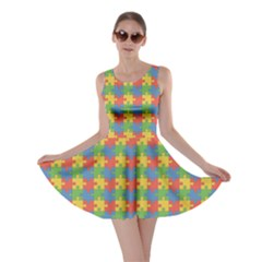 Green Puzzles Color Pattern Skater Dress
