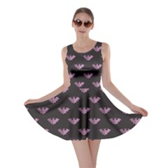 Black Bat Tile Halloween Pattern Skater Dress