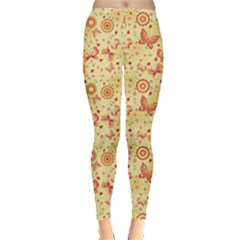 Yellow Floral With Butterfly Women s Leggings