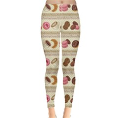 Brown Yummy Colorful Chocolate Cookies Donuts Macaroons Croissants Women s Leggings by CoolDesigns