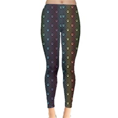 Black Animal Spectrum Pattern Of Paw Footprint In Repeating Women s Leggings by CoolDesigns
