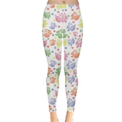 Colorful Watercolor Easter Rabbits Patternornamentcolored Women s Leggings