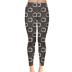 Black Retro Tv Web Flat Design Gray Pattern Women s Leggings by CoolDesigns
