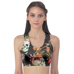 Colorful Beautiful Pattern With Nice Watercolor Skull And Flowers Women s Sport Bra by CoolDesigns