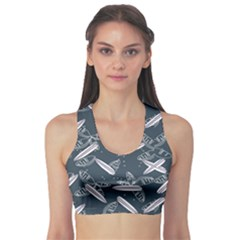 Blue Surfing Pattern Women s Sport Bra by CoolDesigns
