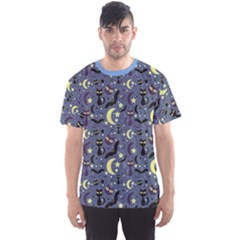 Blue Cute Pattern Night Life Cats And Bats Men s Sport Mesh Tee by CoolDesigns
